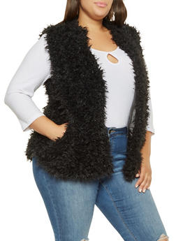 Plus Size Faux Fur Vest - BLACK - 3884038349022