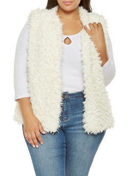 Plus Size Faux Fur Vest - IVORY - 3884038349022