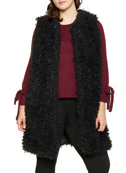 Plus Size Long Shaggy Faux Fur Vest - 3884038349023