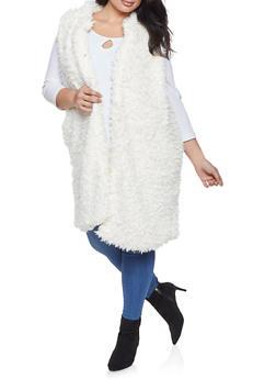 Plus Size Long Shaggy Faux Fur Vest - 3884038349023