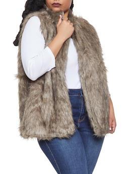 Plus Size Faux Fur Vest - 3884038349024