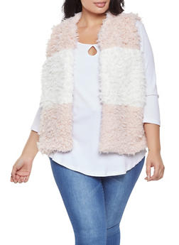 Plus Size Color Block Shaggy Faux Fur Vest - 3884038349025