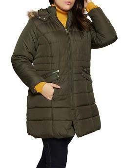 Plus Size Faux Fur Lined Hood Puffer Coat - 3884051064270