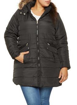 Plus Size Faux Fur Hooded Puffer Jacket - BLACK - 3884051064367