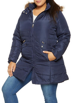 Plus Size Faux Fur Hooded Puffer Jacket - 3884051064367