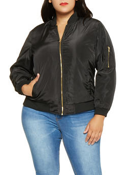 Plus Size Zip Up Bomber Jacket - BLACK - 3884051065102