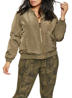 Plus Size Zip Up Bomber Jacket - OLIVE - 3884051065102