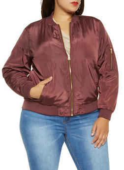 Plus Size Zip Up Bomber Jacket - 3884051065102