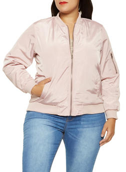 Plus Size Zip Up Bomber Jacket - PINK - 3884051065102
