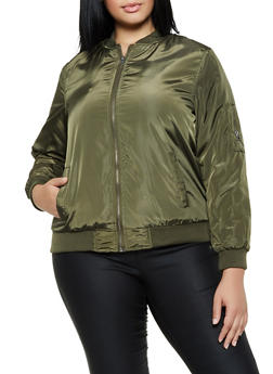 Plus Size Basic Flight Jacket - 3884051065103