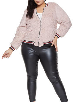 Plus Size Sherpa Bomber Jacket - 3884051065340