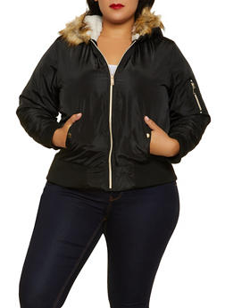 Plus Size Faux Fur Hood Bomber Jacket - 3884051065806