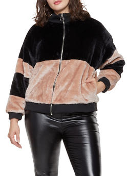 Plus Size Color Block Faux Fur Bomber Jacket - 3884051066966