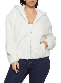Plus Size Zip Up Sherpa Jacket - 3884051067168