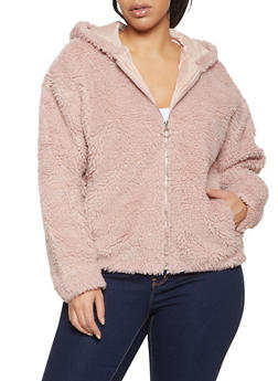 Plus Size Zip Up Sherpa Jacket - 3884051067168