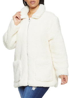 Plus Size Sherpa Zip Up Jacket - 3884051067505