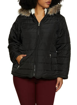 Plus Size Faux Fur Lined Hood Puffer Jacket - 3884051067738