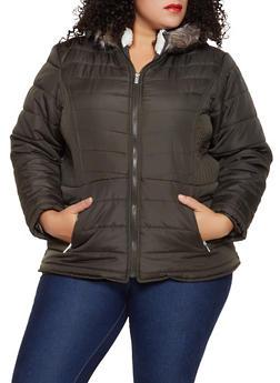 Plus Size Faux Fur Lined Hood Puffer Jacket - 3884051067738
