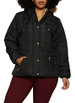 Plus Size Sherpa Lined Hood Zip Puffer Jacket - 3884051067740