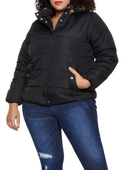 Plus Size Faux Fur Trim Puffer Jacket - 3884051067741