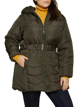 Plus Size Hooded Quilted Puffer Jacket - 3884051067742