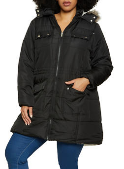 Plus Size Sherpa Lined Quilted Puffer Coat - 3884051067744