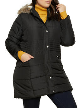 Plus Size Sherpa Lined Quilted Puffer Jacket - 3884051067745