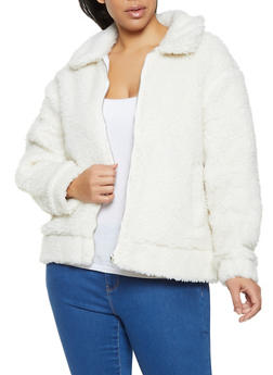 Plus Size Collared Sherpa Jacket - 3884051067753