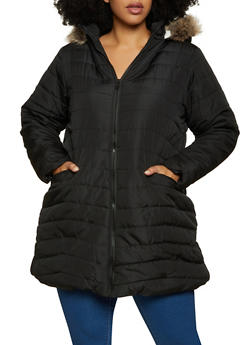Plus Size Sherpa Lined Puffer Coat - 3884051067765