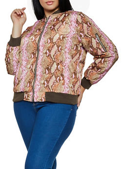 Plus Size Animal Print Bomber Jacket - 3884051067806