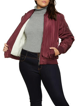 Plus Size Sherpa Lined Bomber Jacket - 3884051067807