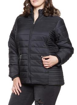 Plus Size Faux Fur Hooded Puffer Jacket - 3884051068345