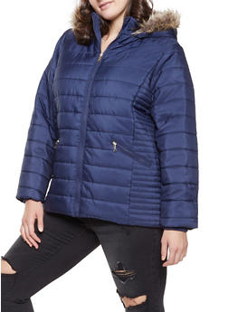Plus Size Faux Fur Hooded Puffer Jacket - 3884051068345