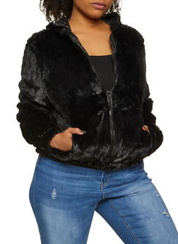 Plus Size Faux Fur Hooded Jacket - 3884054260569