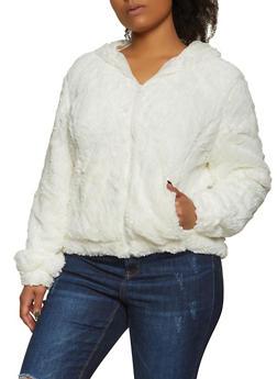 Plus Size Faux Fur Hooded Jacket - 3884054260569