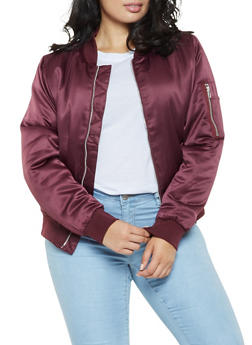 Plus Size Satin Bomber Jacket - 3884054268730