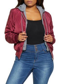 Plus Size Double Zip Hooded Bomber Jacket - 3884054269225