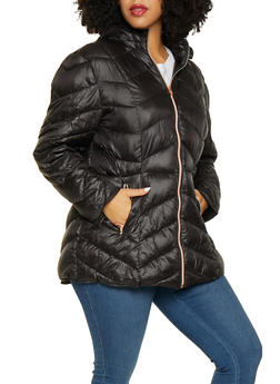 Plus Size Hooded Puffer Jacket - 3884072190462