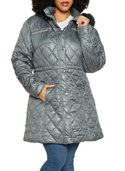 Plus Size Long Puffer Jacket - 3884072190549