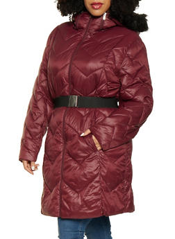 Plus Size Long Belted Puffer Jacket - 3884072190673