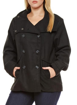 Plus Size Wool Blend Peacoat - BLACK - 3885051062400