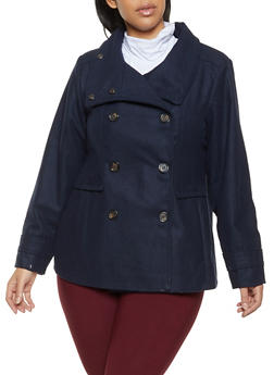 Plus Size Collared Wool Peacoat - 3885051062401