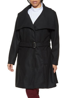 Plus Size Collared Tie Front Wool Jacket - 3885051065056