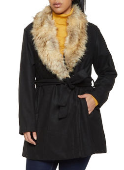 Plus Size Faux Fur Collar Wool Jacket - 3885051066191