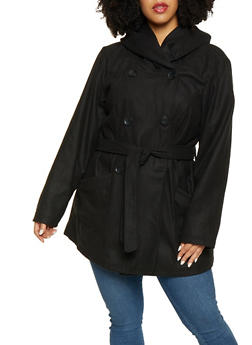 Plus Size Wool Blend Peacoat - 3885051067450