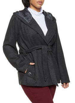 Plus Size Hooded Wool Peacoat - 3885051067452