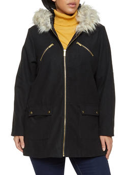 Plus Size Faux Fur Trim Hooded Wool Coat - 3885051067586