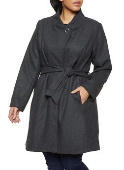 Plus Size Tie Waist Wool Jacket - 3885051067766