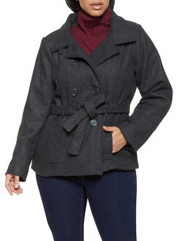 Plus Size Double Breasted Wool Peacoat - 3885051068765