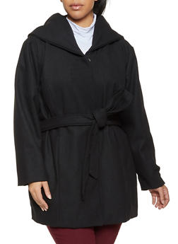 Plus Size Hooded Wool Coat - 3885051069060